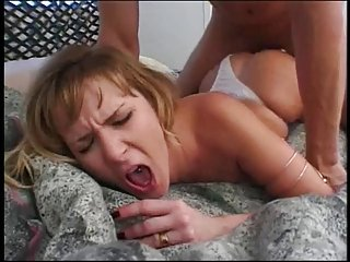 Randy hottie with big fake tits banged on the bed