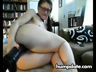 Randy girl rides huge toys