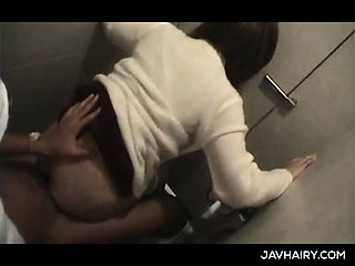 Sweet ass teen jap girl gets hairy muff fuck in a public toilet