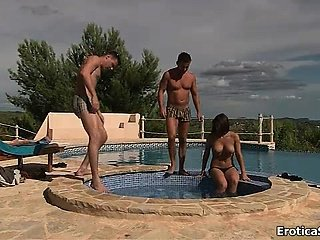 Sexy brunette babe gets randy showing part1