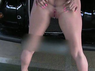 Busty blonde fuck and creampied on fake taxi bonnet