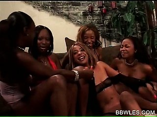 BBW lesbian tramps fucking in wild black gangbang