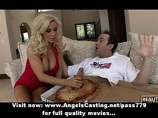 Adorable stunning blonde chick doing blow job to the pizza man