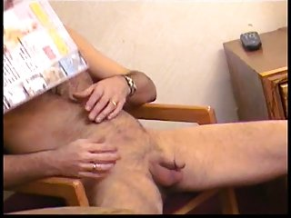 Blonde takes huge facial after giving BJ for an old man