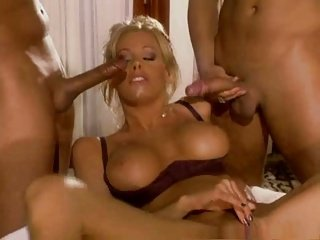 blonde bitch in wild threesome