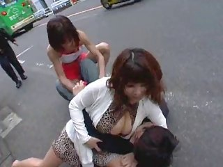 Wrestled and fuck by 2 japanese women