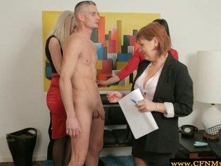 Cfnm hot lady group feel up naked guy