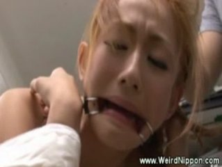 Poor asian slave gets her pussy toyed