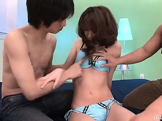 Japanese model Rika Kurachi  looks fantastic in her blue lingerie being fondled