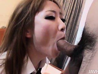 Cute schoogirl Ai on her knees sucking dick until her trimmed pussy is pummeled