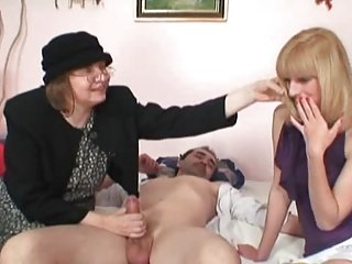 Blonde shares Dick with old Bag