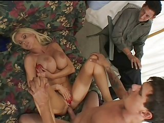 Porn star fucks wife hubby watches