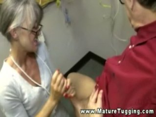 Mature handjob amateur tugging on dick