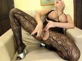 Fishnet Blonde Strips and Masturbates