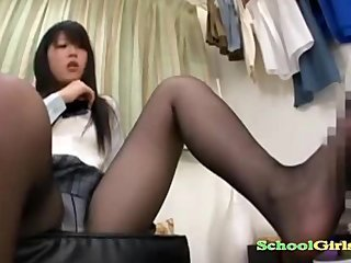 Schoolgirl In Pantyhose Getting Her Toes Sucked Giving Footjob While Sittin