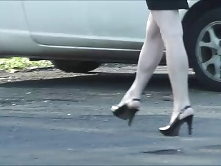 Blonde granny in black heels street Voyeur 974
