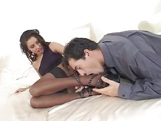 Irresistible Anetta In Sexy Black Stockings, Footjob
