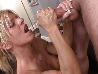 Dick CRAZED Hot lady STROKES BOSS'S SON!