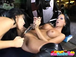 Sublime brunette lesbian nymphets sharing a giant dildo in a sweet kiss