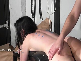 Kinky blow job and needle piercing of brutal bondage babe in dungeon discipline and bdsm