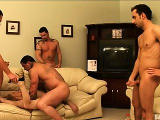 -EXCLUSIVE BEHIND THE SCENES EPISODE!- One hot chick with a swollen clit who's ready to get fuck, four hung dudes ready to party, one hot GANG BANG! Check out why these five are always so happy to CUM to work!