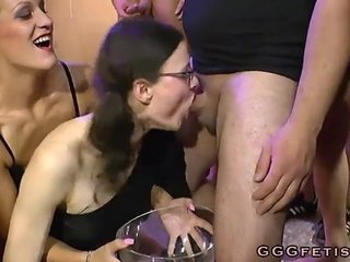 Girls gives blowjobs on randy big dicks