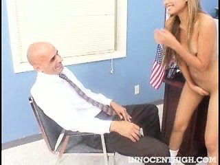 Sexy Asian exchange student strips and sucks her teachers dick