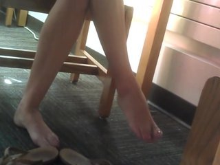 Candid Redhead Feet and Legs at the Library