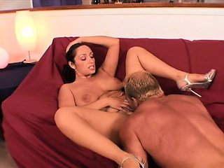 Busty brunette hot lady Vannah Sterling get her hairy pussy licked.