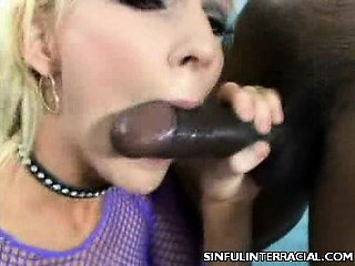 Naughty Blonde Stroking a Black Dick