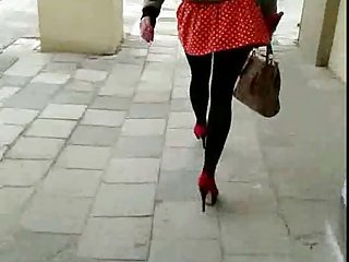 Candid #23 Sexy girl in red mini skirt and high heels