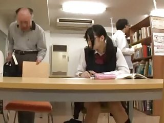Randy Old Guy and Japanese Schoolgirl In A Library