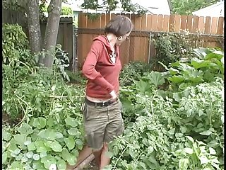 gardening ends in a nice fuck for this hairy girl