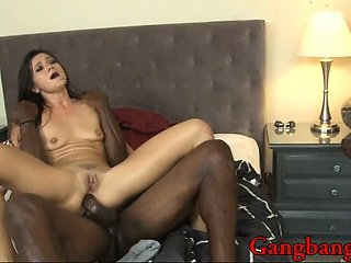 Nasty Cece Stone enjoys having three black dicks pumping her