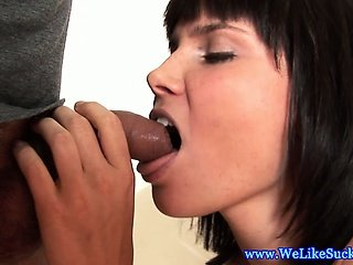Blow job loving brunette jerks dick