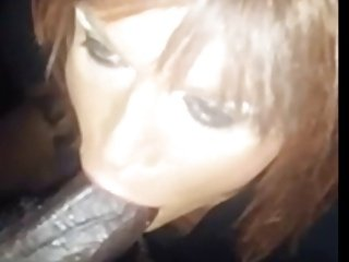 white tranny  sucking  big black dick