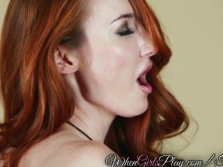 Redhead and brunette lick each-other