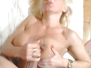 busty hot lady cumin tits