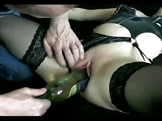 Hot lady gets fuck by a wine bottle