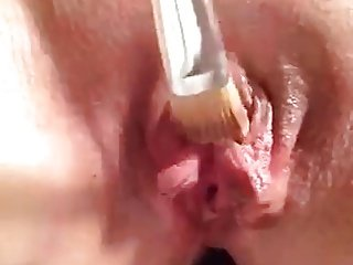 Clit orgasm by paint brush