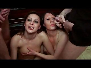 FRENCH CASTING 119 brunette and blonde anal groupsex