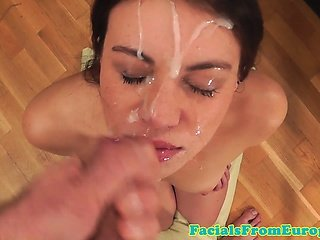 Cum loving euro babe gets messy facial