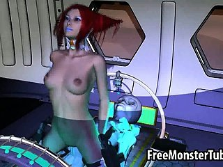 Tasty 3D redhead babe gets fuck by an alien