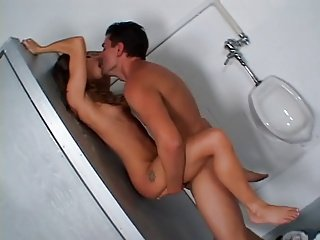 Skinny Thin Babe Fuck in Public Bathroom