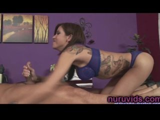 Cute tatooed hot lady massages asian guy