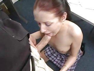 Skinny Teen Gives Blow job
