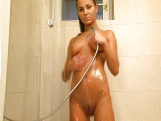 Hot broad taking a shower