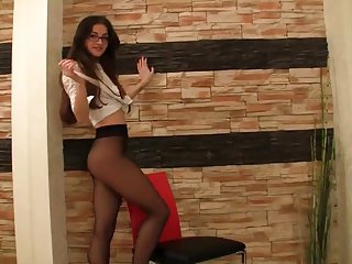 Teen schoolgirl tease in skirt and pantyhose