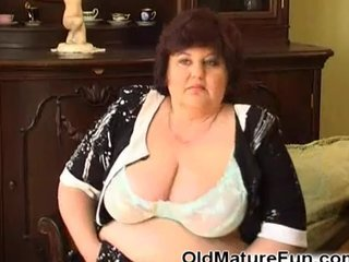 BBW chubby granny on chair