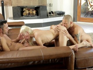 Nubiles Porn - Anal spit roast for coed